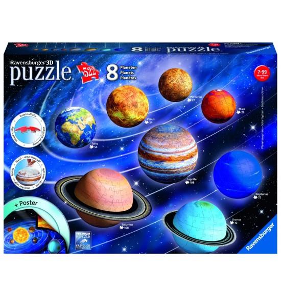 Planetárna sústava 522 dielikov 3D
