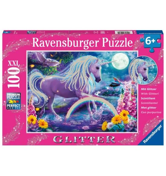 Trblietavé puzzle Žiariaci jednorožec 100 dielikov