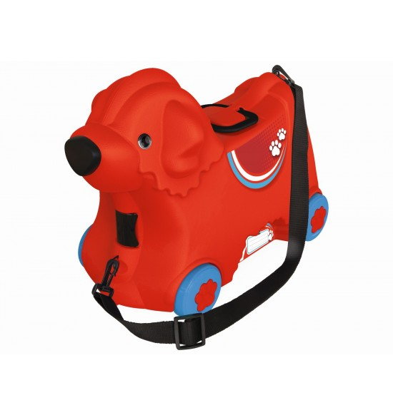Kufrík odrážadlo psík červený s kolieskami