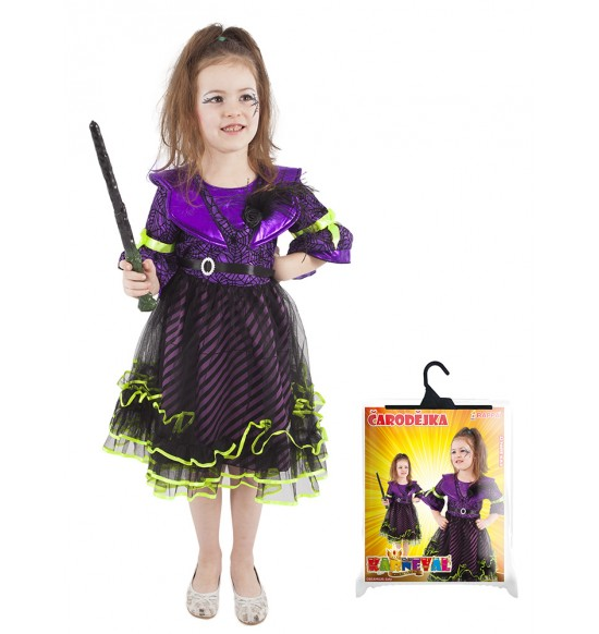 Detský kostým čarodejnice fialová (M) / Halloween