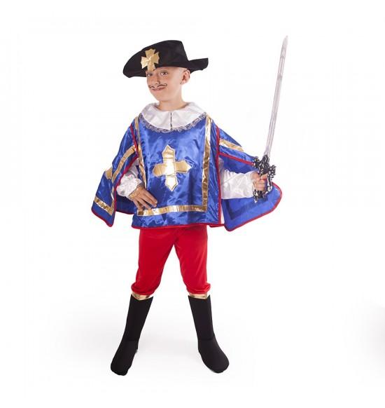 Detský kostým Mušketier modrý (M)