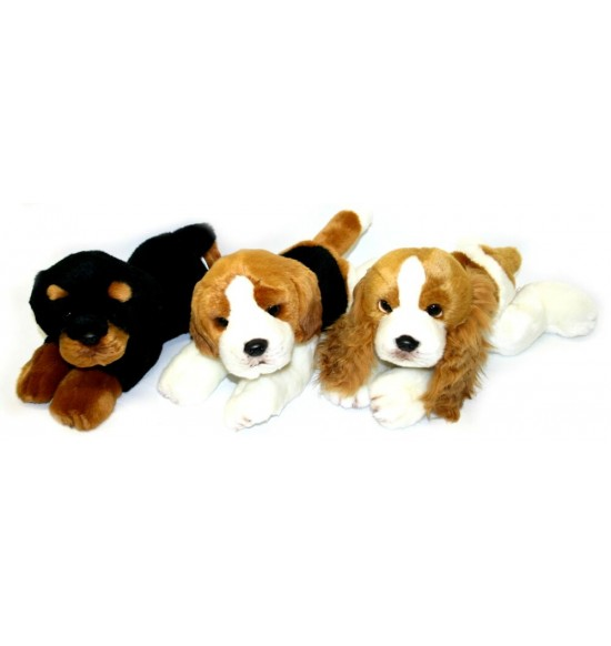 plyšový pes ležiaci, 3 druhy, 30 cm