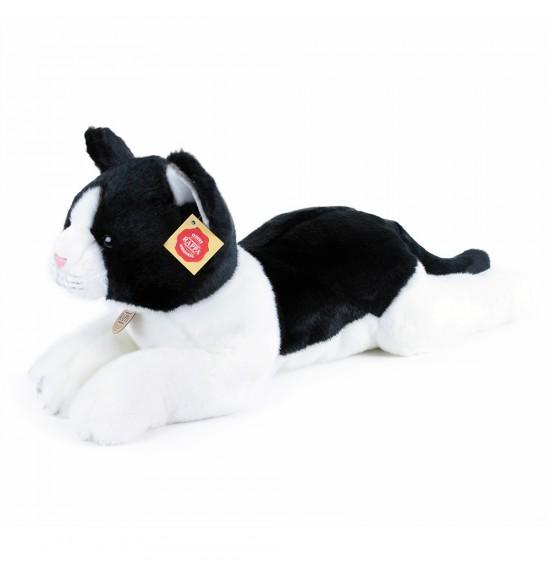 plyšová mačka ležiaca čierno-biela, 35 cm