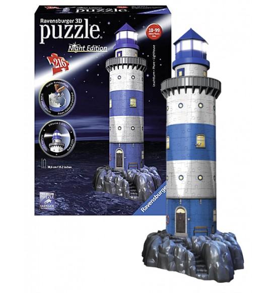 puzzle Maják v příboji (Noční edice) 3D 216d