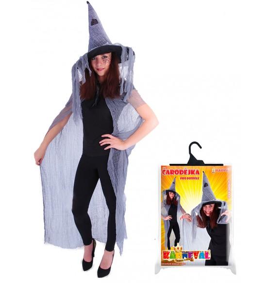 plášť čarodějnický/halloween s kloboukem, dospělý