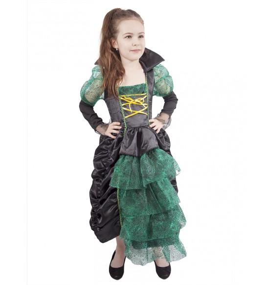 karnevalový kostým + klobúk čarodejnica zelená vel. M