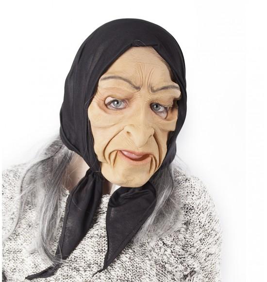 maska čarodejnice šedivá s pohyblivou mimikou