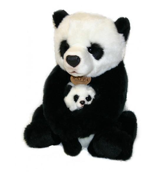 plyšová panda s mláďaťom, 27 cm